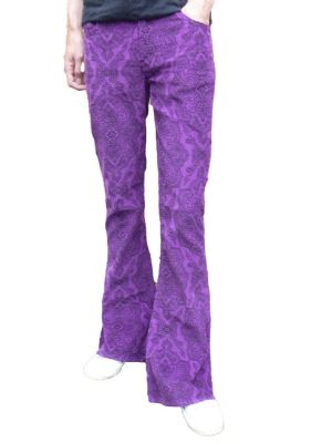 Paisley Cords Flares - Bell Bottoms Trousers Pants Corduroy - Psychedelic Purple Paisley